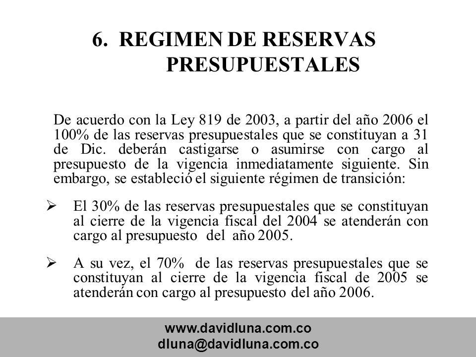 www.davidluna.com.co dluna@davidluna.com.co 6. REGIMEN DE RESERVAS PRESUPUESTALES De acuerdo con la Ley 819 de 2003, a partir del año 2006 el 100% de