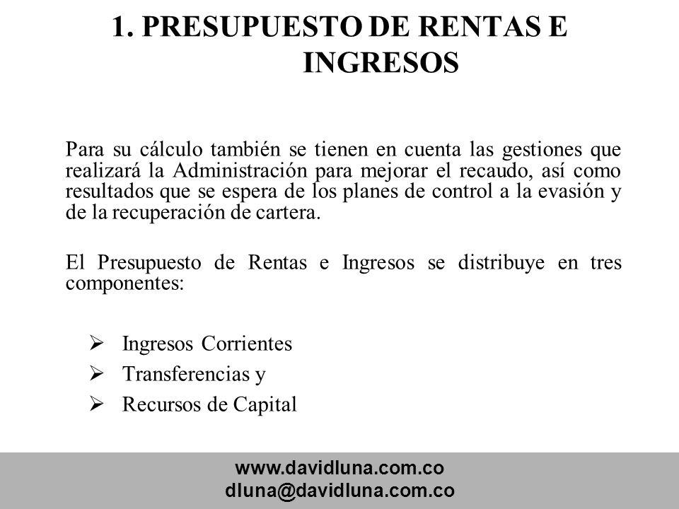 www.davidluna.com.co dluna@davidluna.com.co 1. PRESUPUESTO DE RENTAS E INGRESOS Para su cálculo también se tienen en cuenta las gestiones que realizar