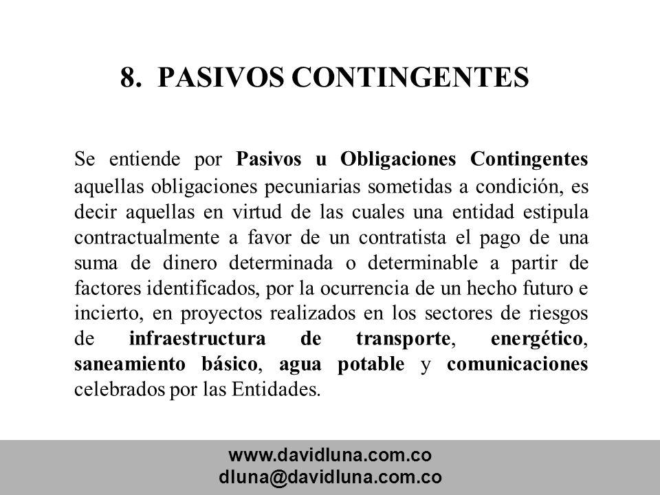 www.davidluna.com.co dluna@davidluna.com.co 8. PASIVOS CONTINGENTES Se entiende por Pasivos u Obligaciones Contingentes aquellas obligaciones pecuniar