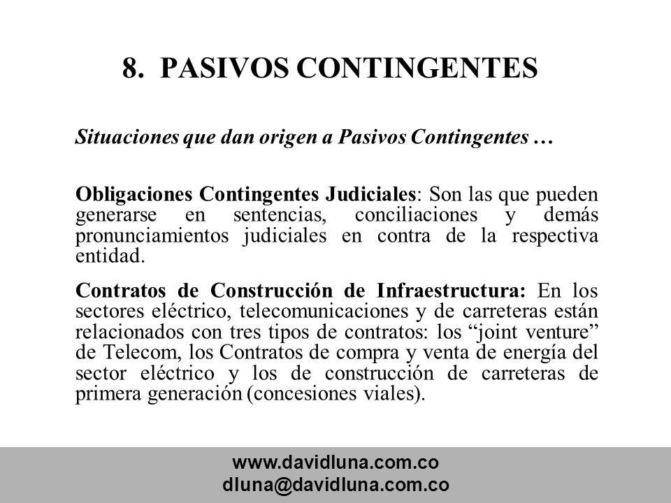 www.davidluna.com.co dluna@davidluna.com.co 8. PASIVOS CONTINGENTES Situaciones que dan origen a Pasivos Contingentes … Obligaciones Contingentes Judi