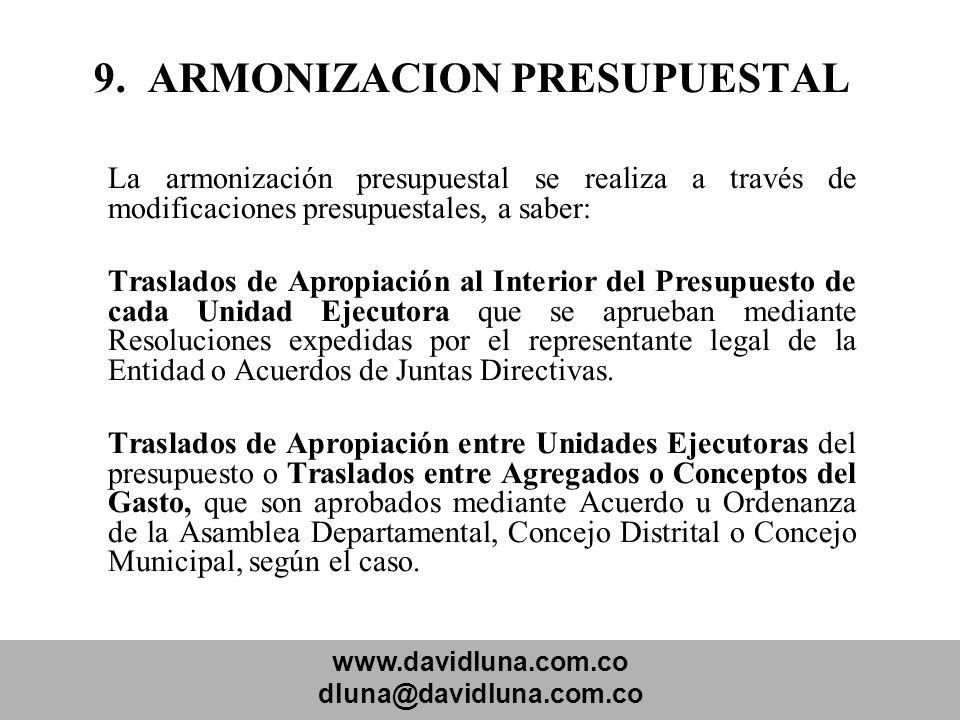 www.davidluna.com.co dluna@davidluna.com.co 9. ARMONIZACION PRESUPUESTAL La armonización presupuestal se realiza a través de modificaciones presupuest