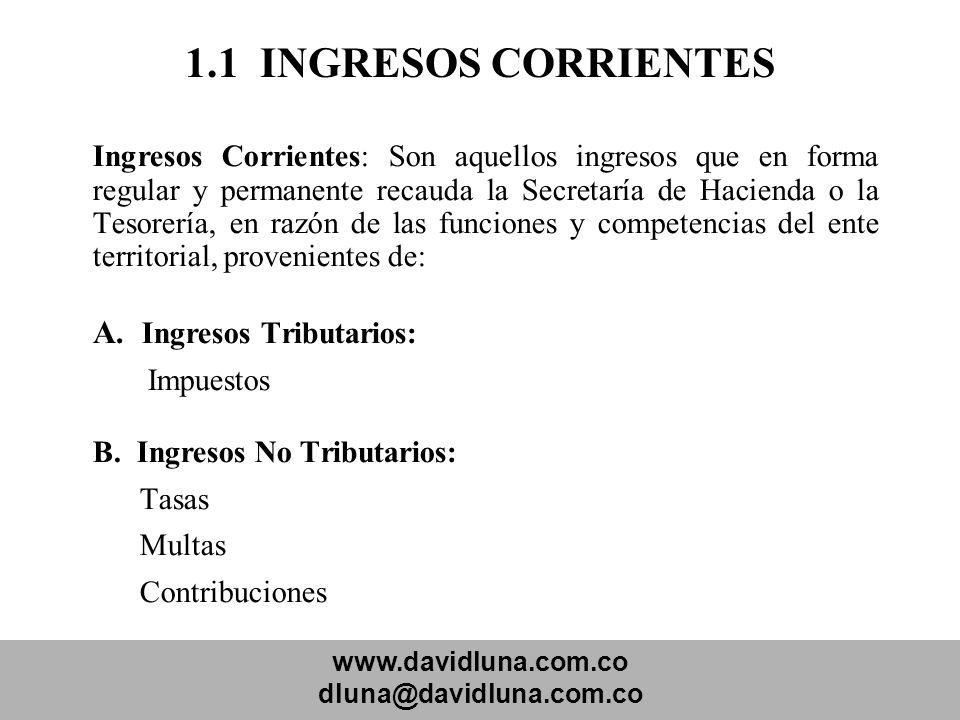 www.davidluna.com.co dluna@davidluna.com.co 1.1 INGRESOS CORRIENTES Ingresos Corrientes: Son aquellos ingresos que en forma regular y permanente recau