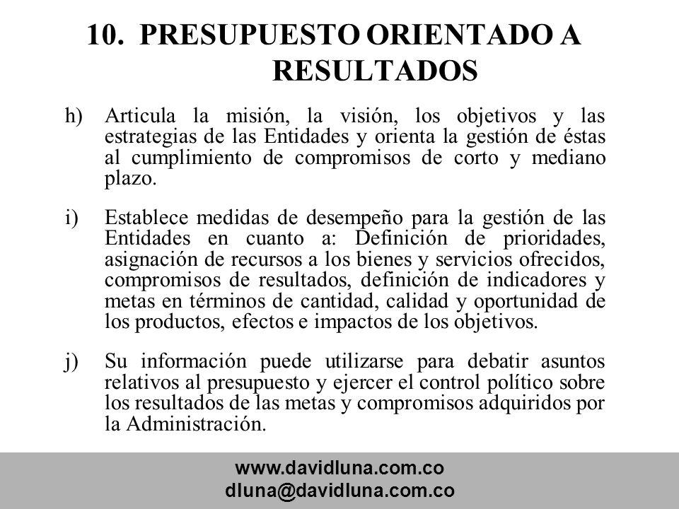 www.davidluna.com.co dluna@davidluna.com.co 10. PRESUPUESTO ORIENTADO A RESULTADOS h)Articula la misión, la visión, los objetivos y las estrategias de