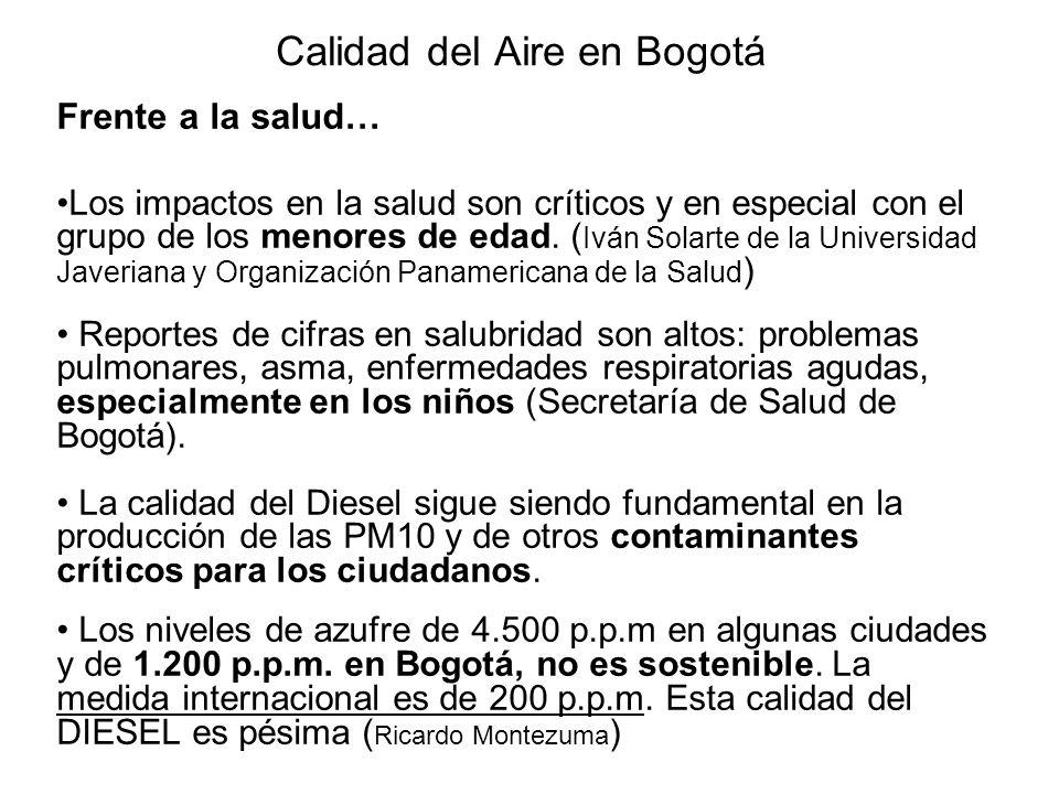 Calidad del Aire en Bogotá Frente a la salud… Los impactos en la salud son críticos y en especial con el grupo de los menores de edad.