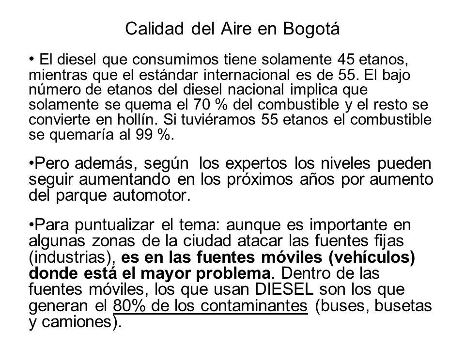 Calidad del Aire en Bogotá El problema no es sólo para los peatones, es incluso más crítico para los ciudadanos que van dentro de los buses ( Eduardo Berhentz ) Este panorama amerita acciones dirigidas hacia estos sectores, la restricción aunque positiva no contempla cambios tecnológicos.