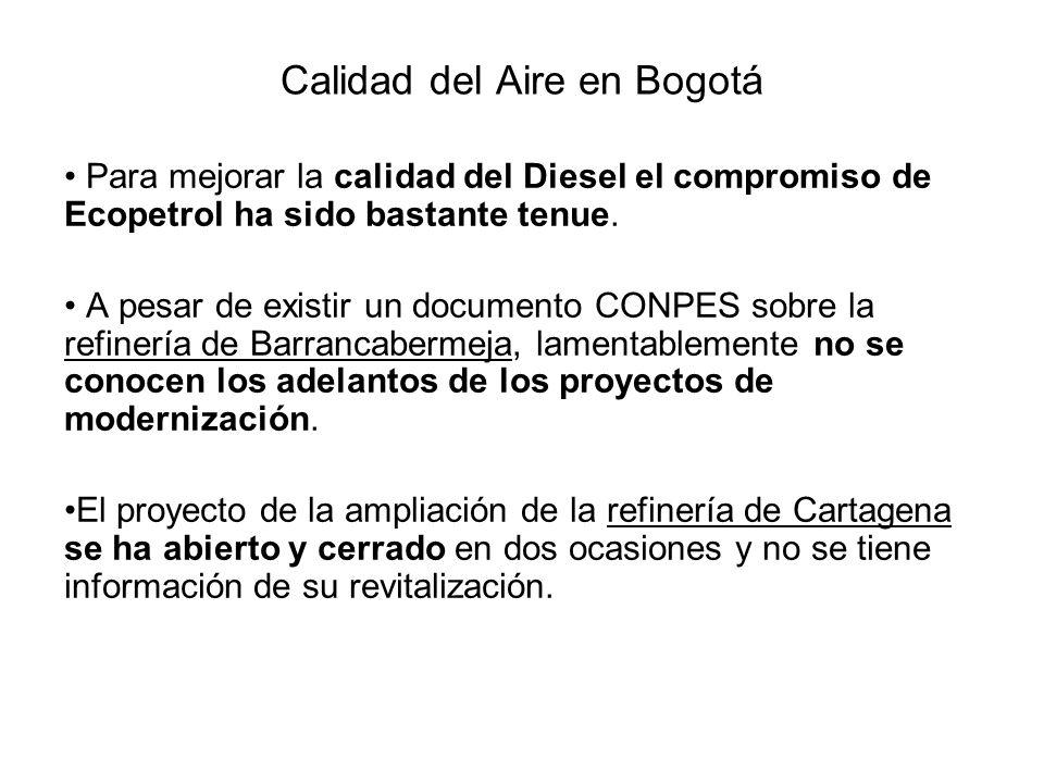 Calidad del Aire en Bogotá Para mejorar la calidad del Diesel el compromiso de Ecopetrol ha sido bastante tenue.