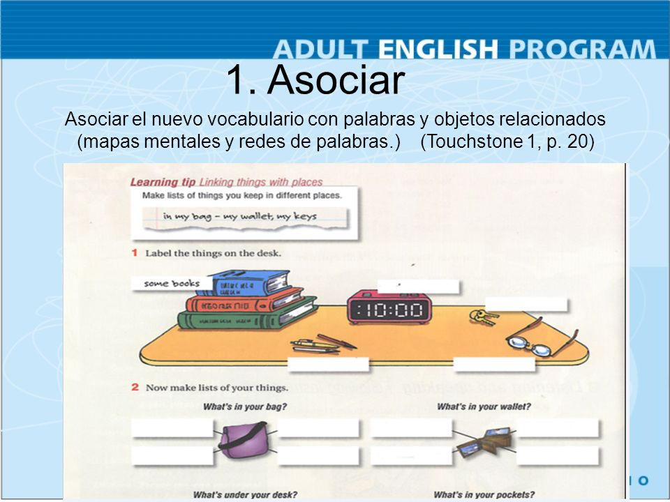 Asociar el nuevo vocabulario con palabras y objetos relacionados (mapas mentales y redes de palabras.) (Touchstone 1, p. 20) 1. Asociar