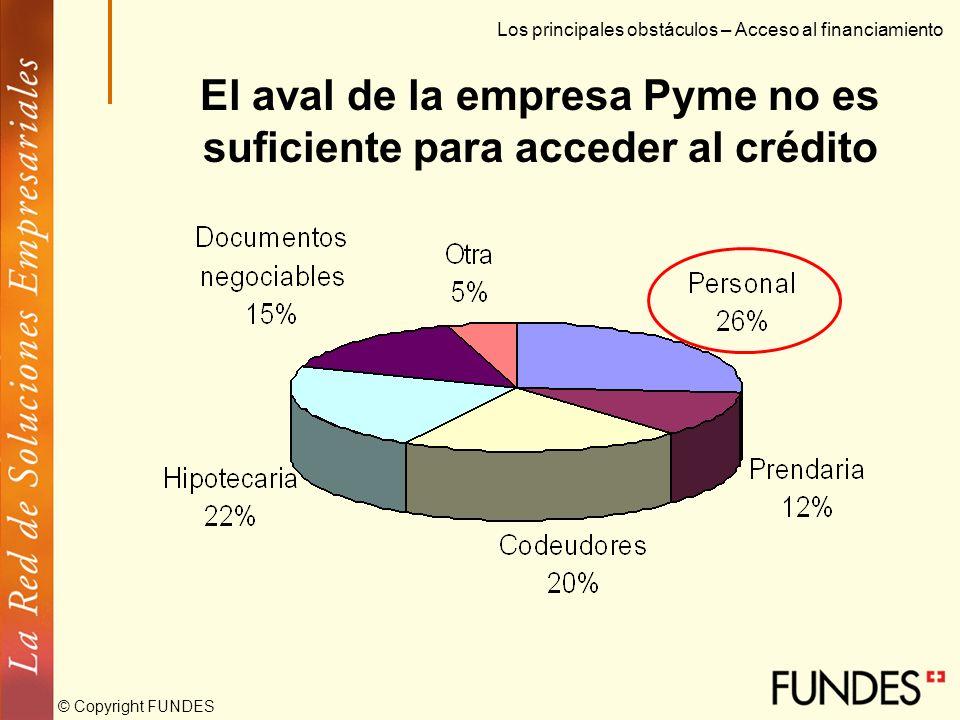 © Copyright FUNDES Sus principales fuentes de financiación son el crédito bancario y el capital propio Los principales obstáculos – Acceso al financia