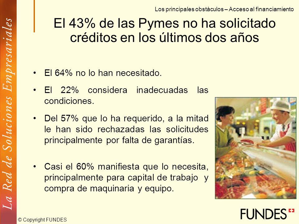 © Copyright FUNDES El aval de la empresa Pyme no es suficiente para acceder al crédito Los principales obstáculos – Acceso al financiamiento