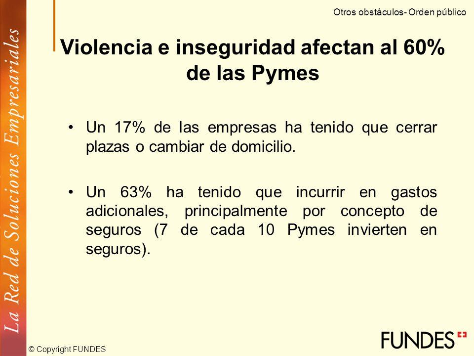 © Copyright FUNDES El impacto de los programas de apoyo gubernamental ha sido bajo Las Pymes consideran deficientes los mecanismos de apoyo gubernamen