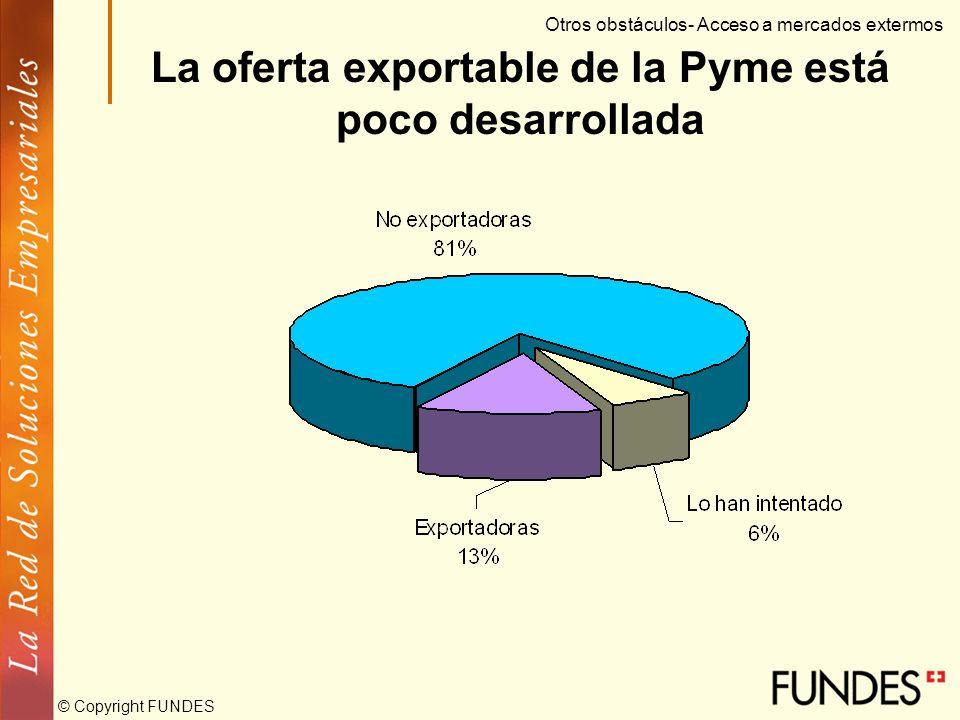 © Copyright FUNDES Objetivo de la política: diversificar exportaciones. La Pyme es la base de las exportaciones no tradicionales. La Pyme no tiene con