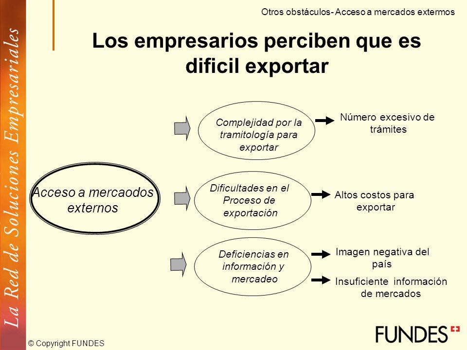 © Copyright FUNDES La oferta exportable de la Pyme está poco desarrollada Otros obstáculos- Acceso a mercados extermos