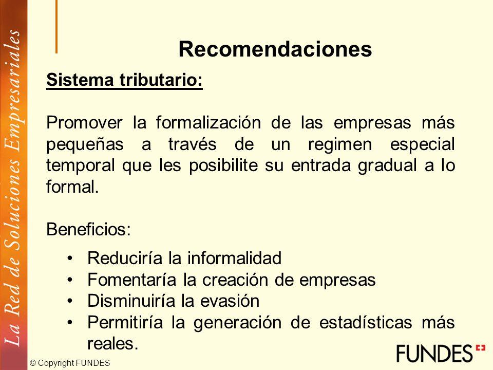© Copyright FUNDES Recomendaciones Acceso al financiamiento: Mejorar los instrumentos de garantías Afinar más los elementos de las líneas de crédito o