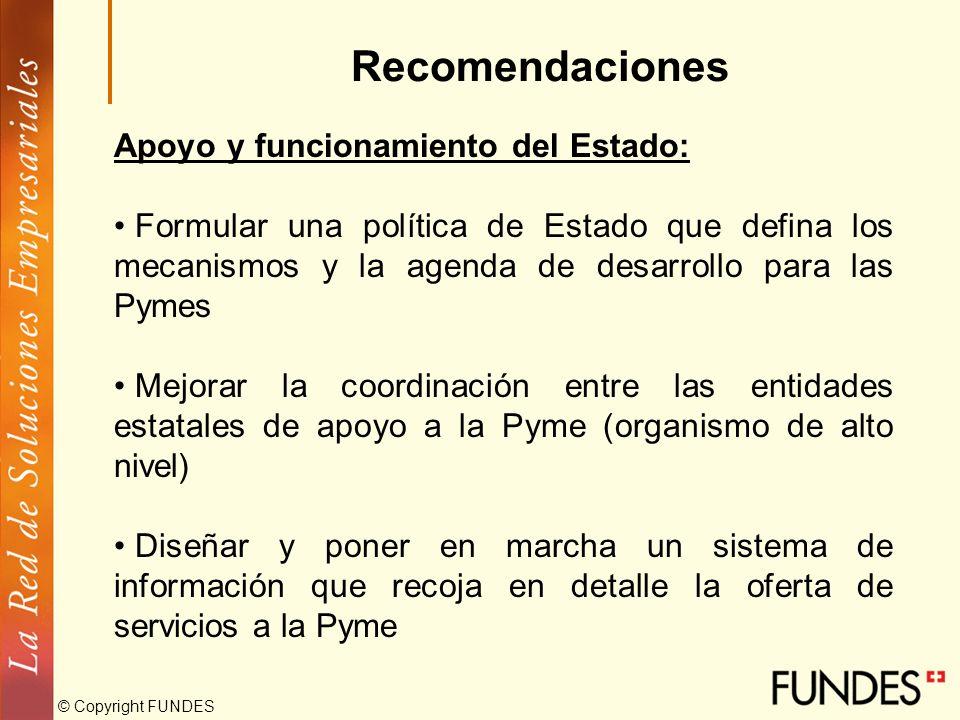 © Copyright FUNDES Recomendaciones Acceso al mercado interno: Apoyar el mejoramiento de la gestión comercial y de mercadeo de la Pyme con la masificac