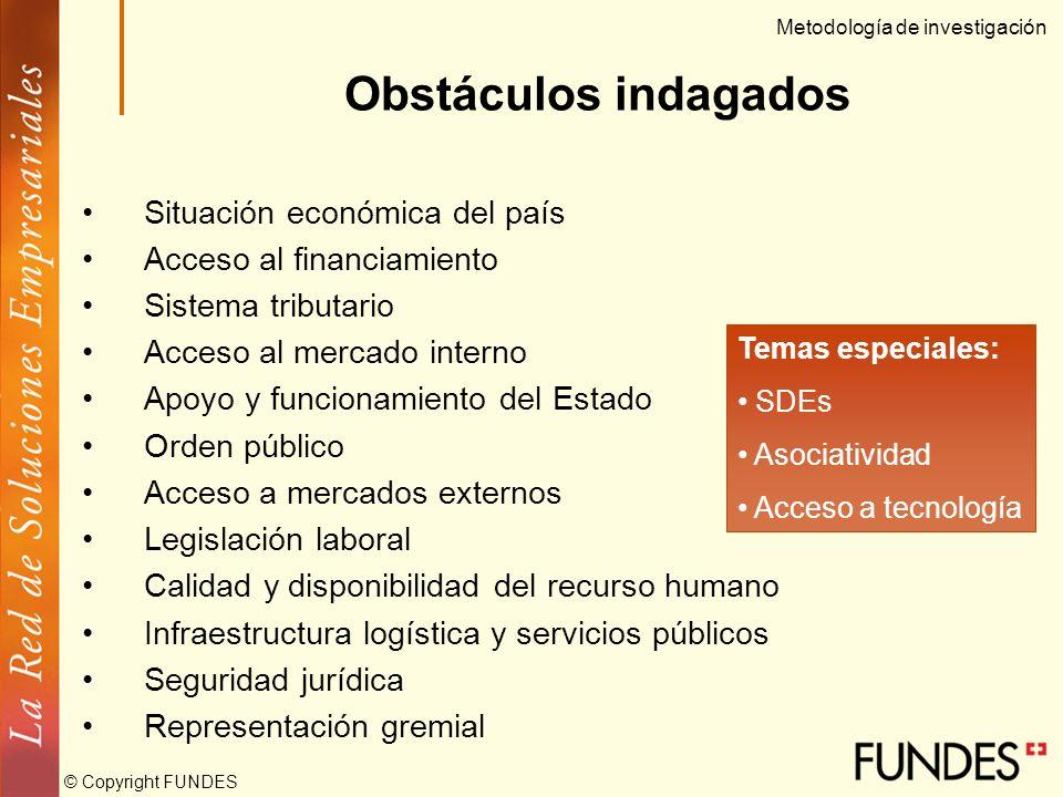 © Copyright FUNDES Fase Cualitativa (2002) Análisis documental Entrevistas a profundidad (25) Focus groups (5). Inventario de obstáculos 12 áreas gene