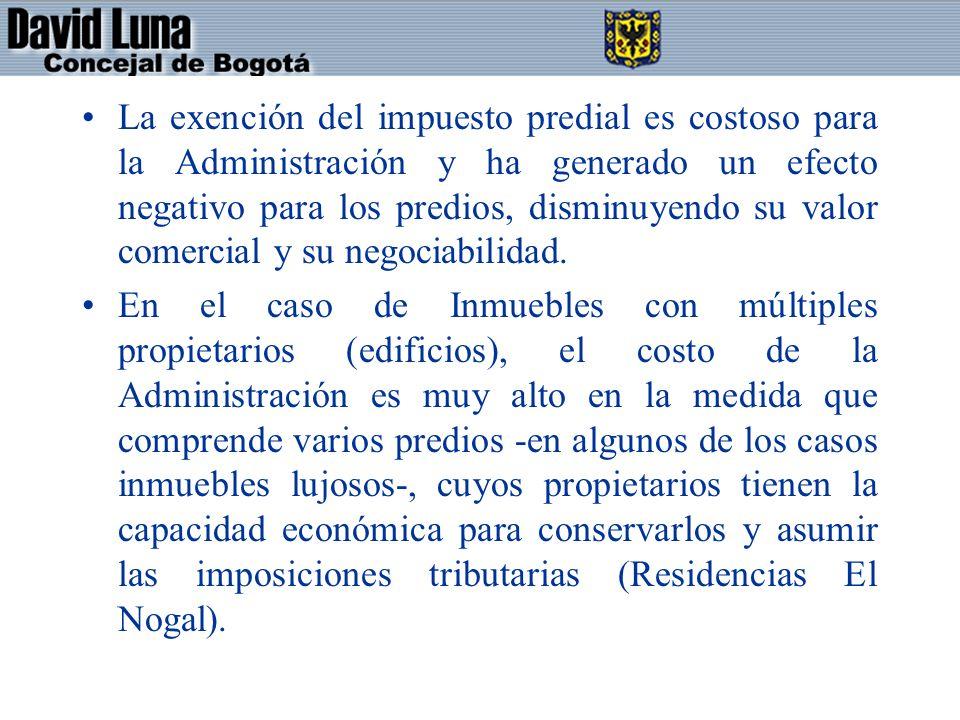 La exención del impuesto predial es costoso para la Administración y ha generado un efecto negativo para los predios, disminuyendo su valor comercial y su negociabilidad.