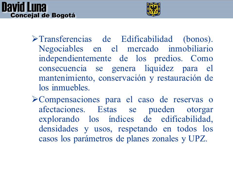 Transferencias de Edificabilidad (bonos).