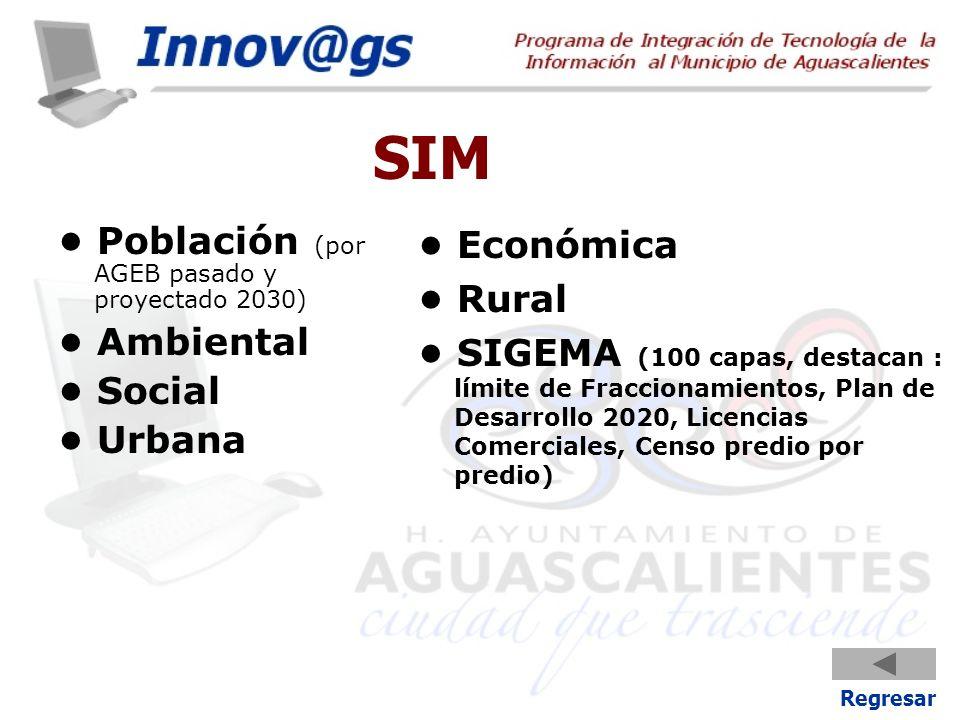 SIM Población (por AGEB pasado y proyectado 2030) Ambiental Social Urbana Económica Rural SIGEMA (100 capas, destacan : límite de Fraccionamientos, Pl