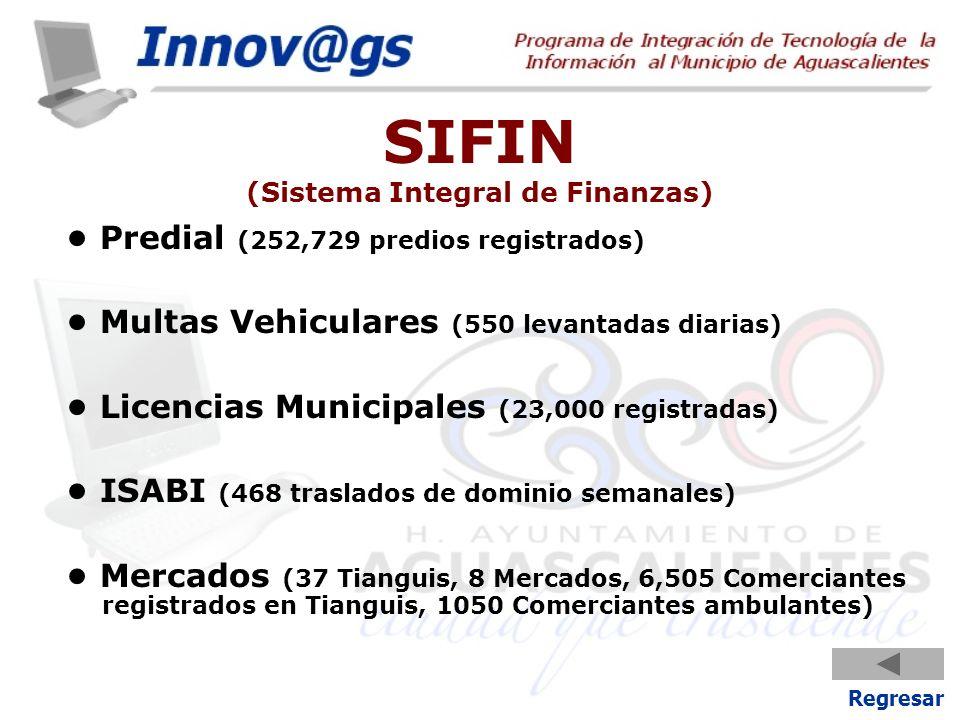 SIFIN (Sistema Integral de Finanzas) Predial (252,729 predios registrados) Multas Vehiculares (550 levantadas diarias) Licencias Municipales (23,000 r