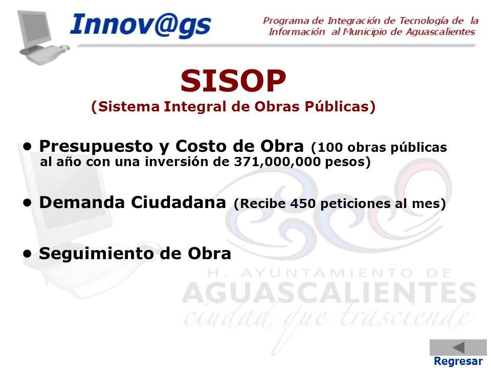 SISOP (Sistema Integral de Obras Públicas) Presupuesto y Costo de Obra (100 obras públicas al año con una inversión de 371,000,000 pesos) Demanda Ciud