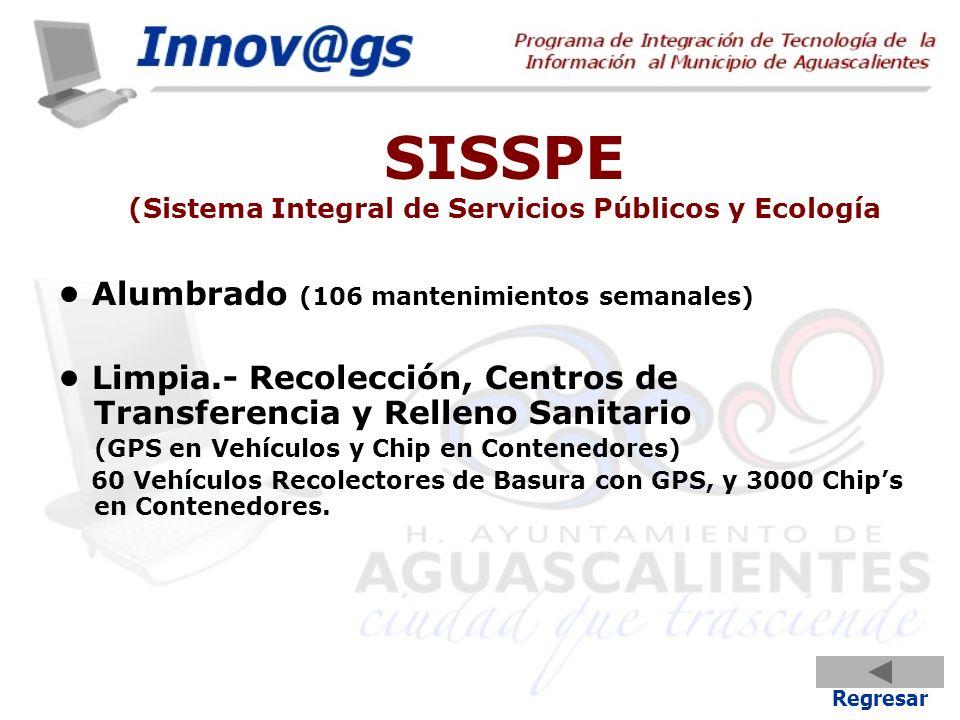 SISSPE (Sistema Integral de Servicios Públicos y Ecología Alumbrado (106 mantenimientos semanales) Limpia.- Recolección, Centros de Transferencia y Re