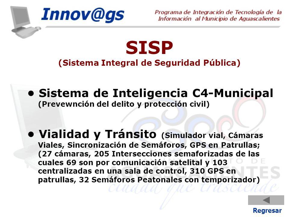 SISP (Sistema Integral de Seguridad Pública) Sistema de Inteligencia C4-Municipal (Prevewnción del delito y protección civil) Vialidad y Tránsito (Sim