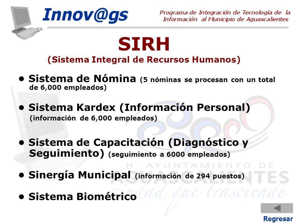 SIRH (Sistema Integral de Recursos Humanos) Sistema de Nómina (5 nóminas se procesan con un total de 6,000 empleados) Sistema Kardex (Información Pers