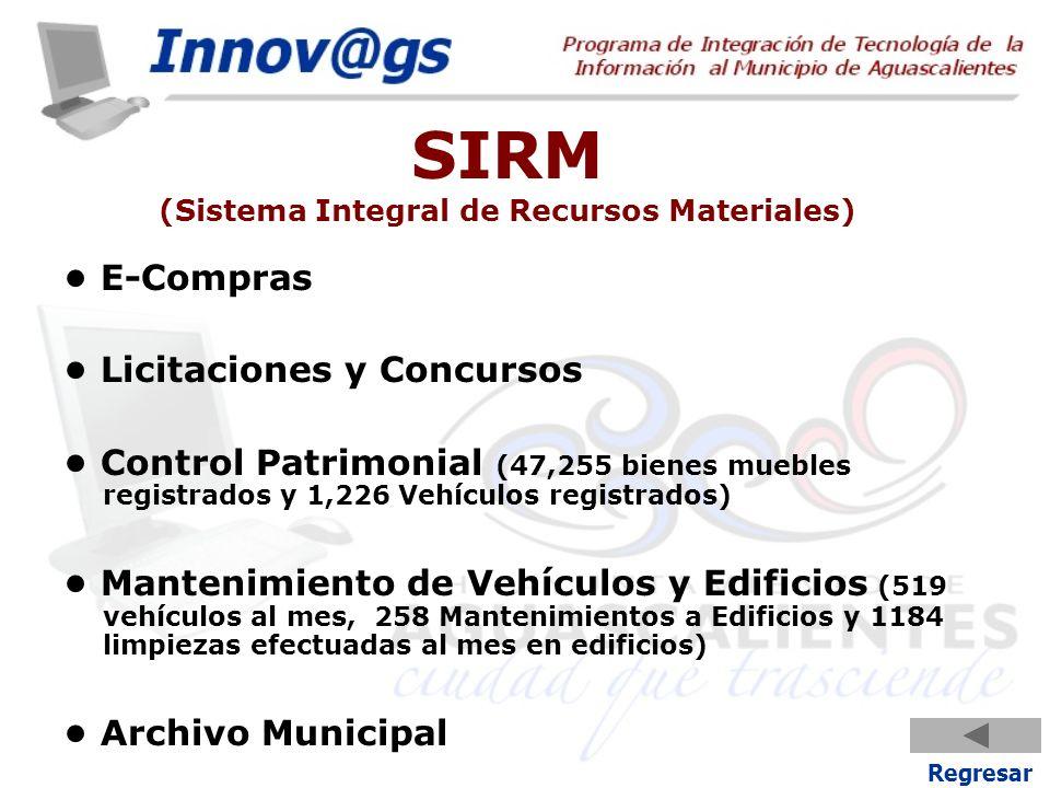 SIRM (Sistema Integral de Recursos Materiales) E-Compras Licitaciones y Concursos Control Patrimonial (47,255 bienes muebles registrados y 1,226 Vehíc