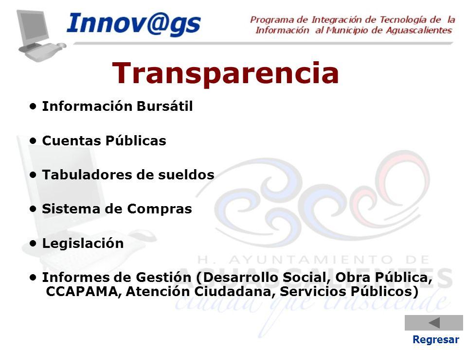Transparencia Información Bursátil Cuentas Públicas Tabuladores de sueldos Sistema de Compras Legislación Informes de Gestión (Desarrollo Social, Obra