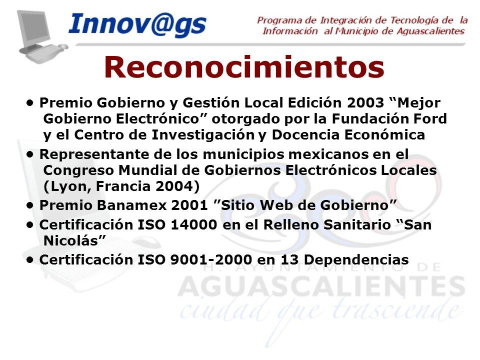 Reconocimientos Premio Gobierno y Gestión Local Edición 2003 Mejor Gobierno Electrónico otorgado por la Fundación Ford y el Centro de Investigación y