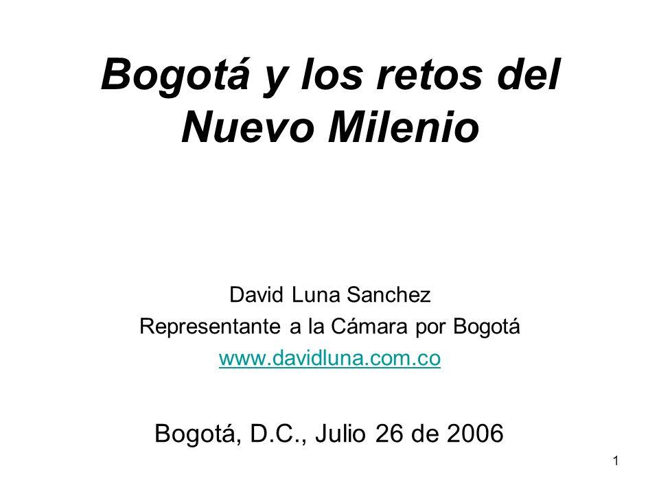 1 Bogotá y los retos del Nuevo Milenio David Luna Sanchez Representante a la Cámara por Bogotá www.davidluna.com.co Bogotá, D.C., Julio 26 de 2006