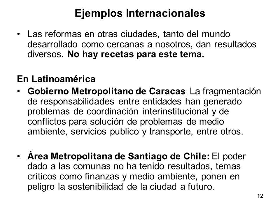 12 Ejemplos Internacionales Las reformas en otras ciudades, tanto del mundo desarrollado como cercanas a nosotros, dan resultados diversos.