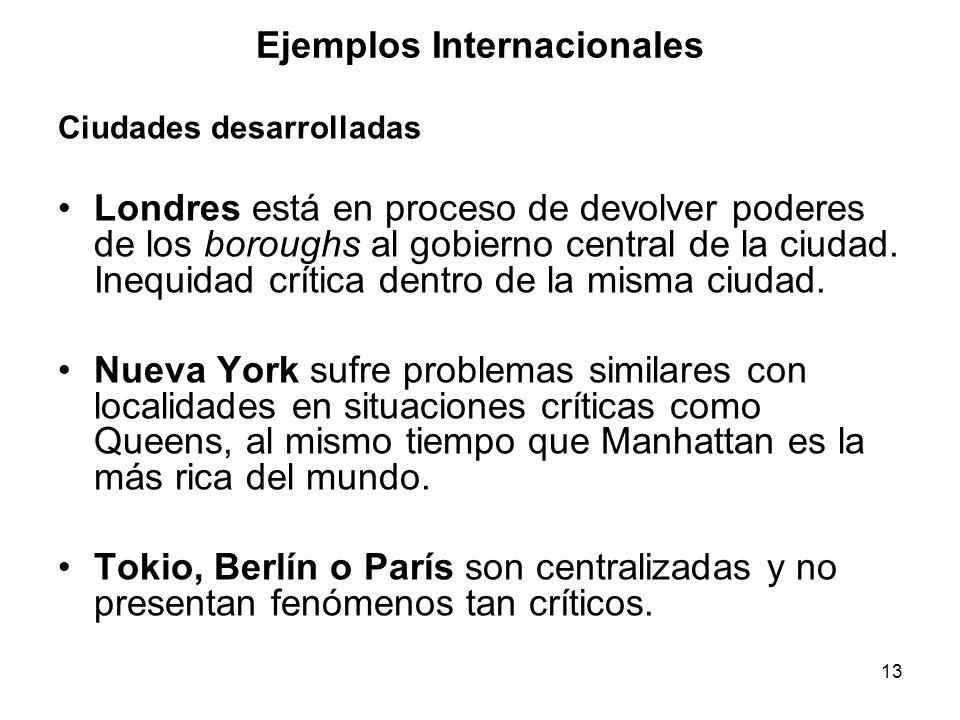 13 Ejemplos Internacionales Ciudades desarrolladas Londres está en proceso de devolver poderes de los boroughs al gobierno central de la ciudad.