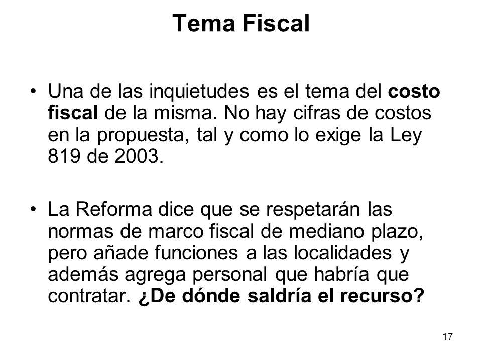 17 Tema Fiscal Una de las inquietudes es el tema del costo fiscal de la misma.