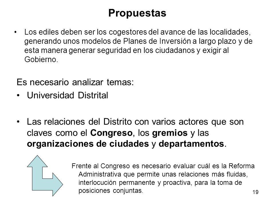19 Propuestas Es necesario analizar temas: Universidad Distrital Las relaciones del Distrito con varios actores que son claves como el Congreso, los gremios y las organizaciones de ciudades y departamentos.