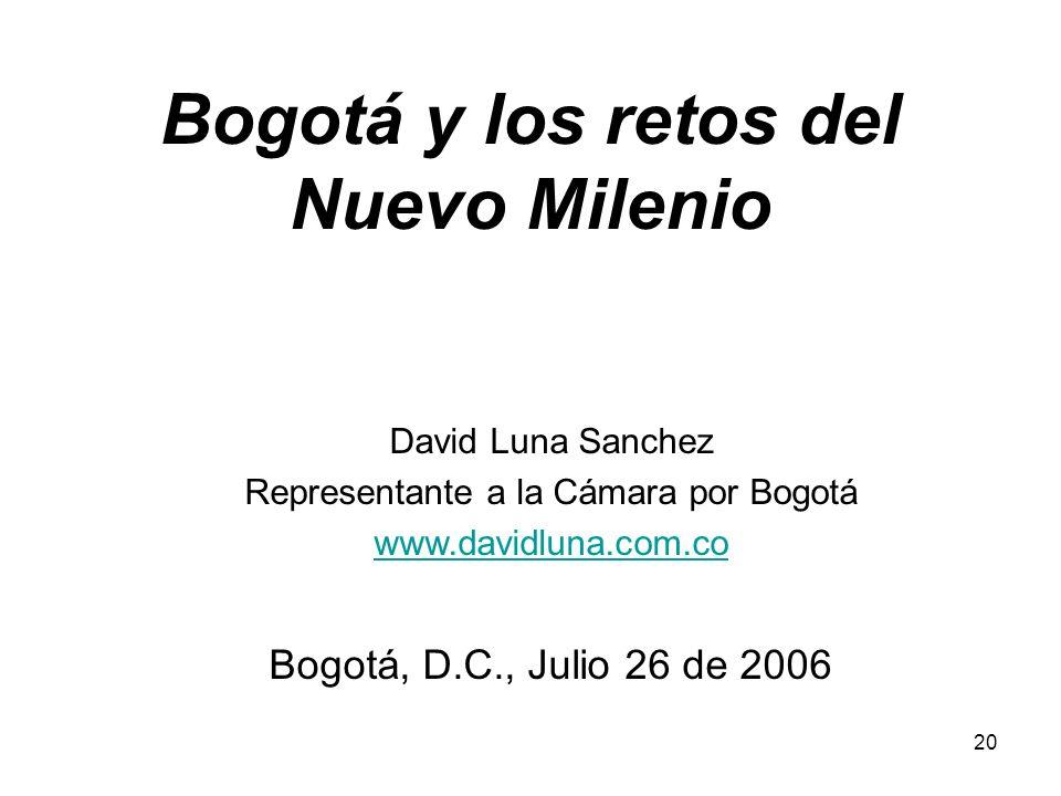 20 Bogotá y los retos del Nuevo Milenio David Luna Sanchez Representante a la Cámara por Bogotá www.davidluna.com.co Bogotá, D.C., Julio 26 de 2006