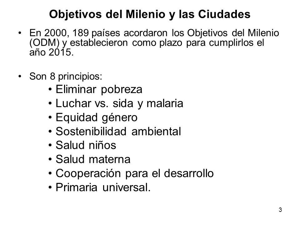 3 Objetivos del Milenio y las Ciudades En 2000, 189 países acordaron los Objetivos del Milenio (ODM) y establecieron como plazo para cumplirlos el año 2015.