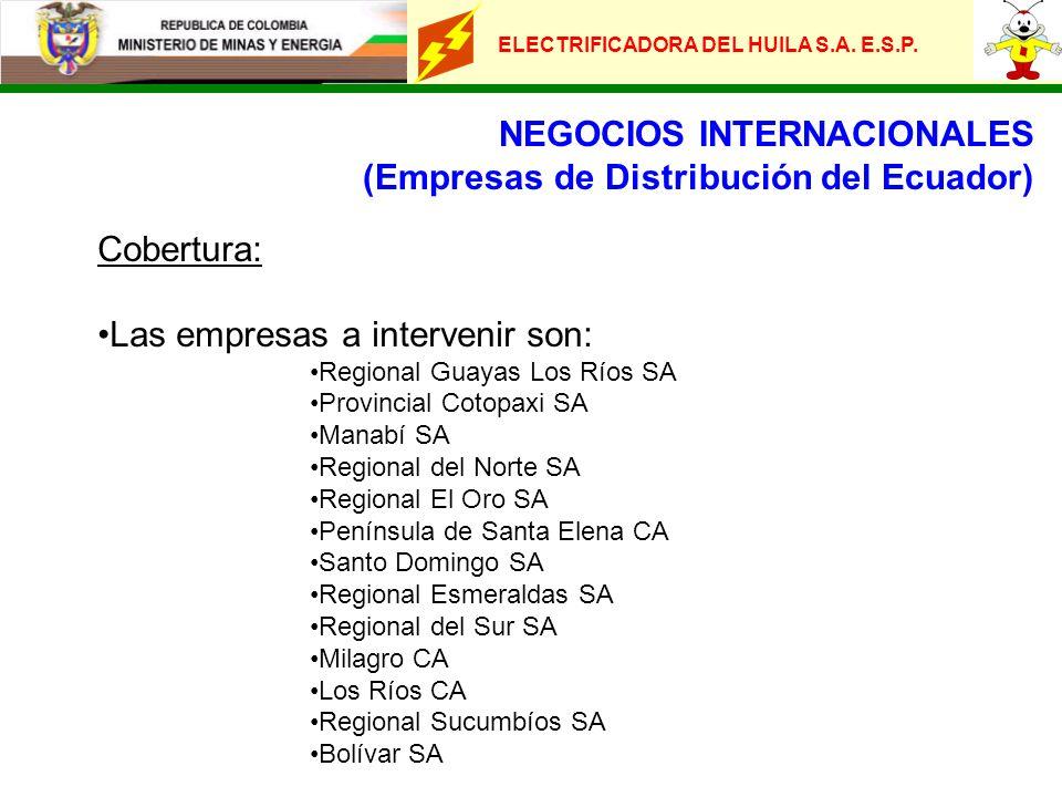 NEGOCIOS INTERNACIONALES (Empresas de Distribución del Ecuador) Cobertura: Las empresas a intervenir son: Regional Guayas Los Ríos SA Provincial Cotop