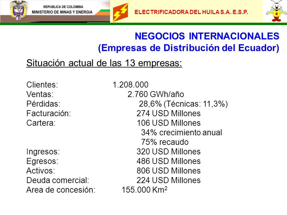 NEGOCIOS INTERNACIONALES (Empresas de Distribución del Ecuador) Situación actual de las 13 empresas: Clientes:1.208.000 Ventas: 2.760 GWh/año Pérdidas