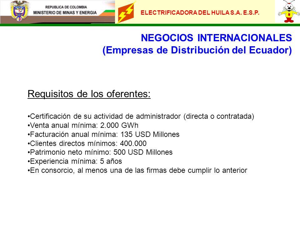 ELECTRIFICADORA DEL HUILA S.A. E.S.P. NEGOCIOS INTERNACIONALES (Empresas de Distribución del Ecuador) Requisitos de los oferentes: Certificación de su