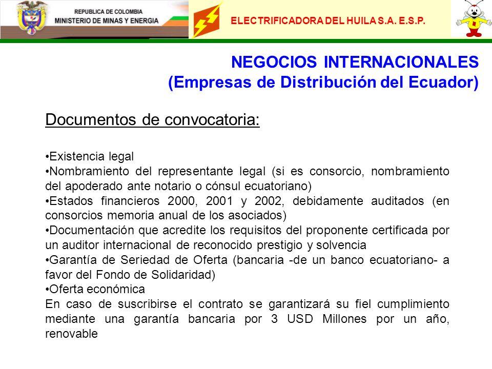 ELECTRIFICADORA DEL HUILA S.A. E.S.P. NEGOCIOS INTERNACIONALES (Empresas de Distribución del Ecuador) Documentos de convocatoria: Existencia legal Nom