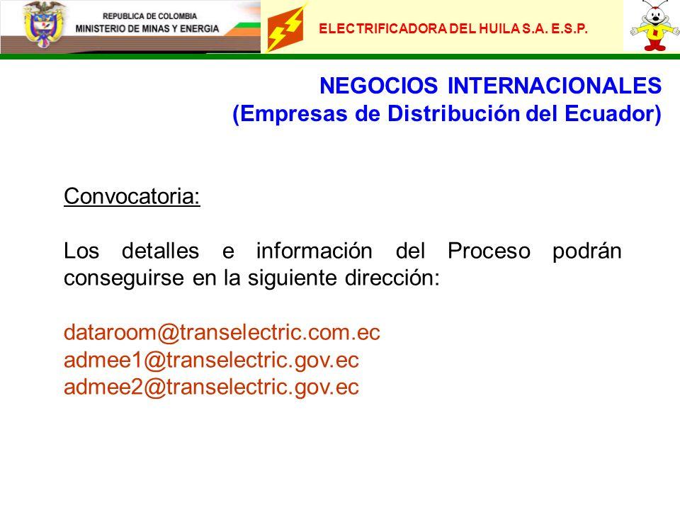 ELECTRIFICADORA DEL HUILA S.A. E.S.P. NEGOCIOS INTERNACIONALES (Empresas de Distribución del Ecuador) Convocatoria: Los detalles e información del Pro