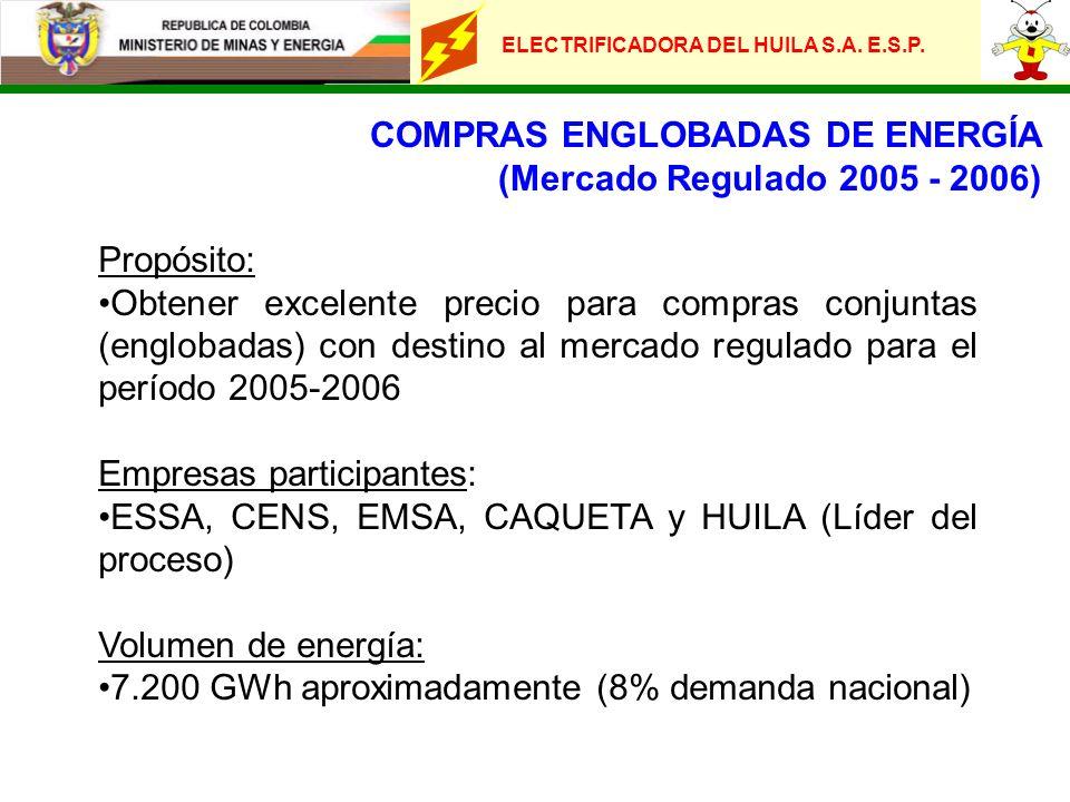 ELECTRIFICADORA DEL HUILA S.A. E.S.P. COMPRAS ENGLOBADAS DE ENERGÍA (Mercado Regulado 2005 - 2006) Propósito: Obtener excelente precio para compras co