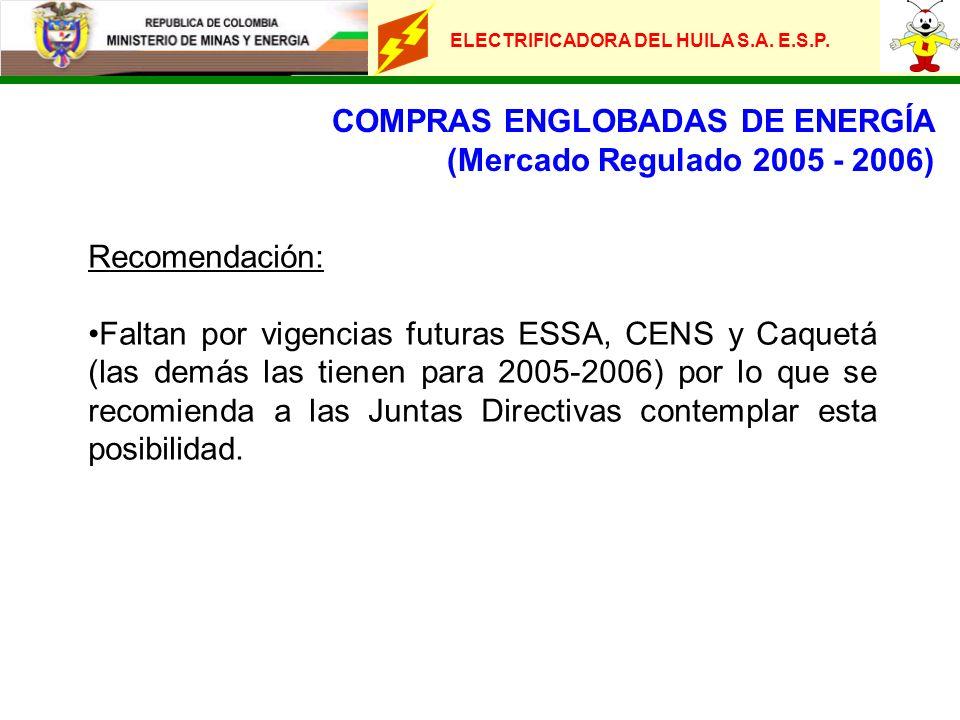 ELECTRIFICADORA DEL HUILA S.A. E.S.P. COMPRAS ENGLOBADAS DE ENERGÍA (Mercado Regulado 2005 - 2006) Recomendación: Faltan por vigencias futuras ESSA, C