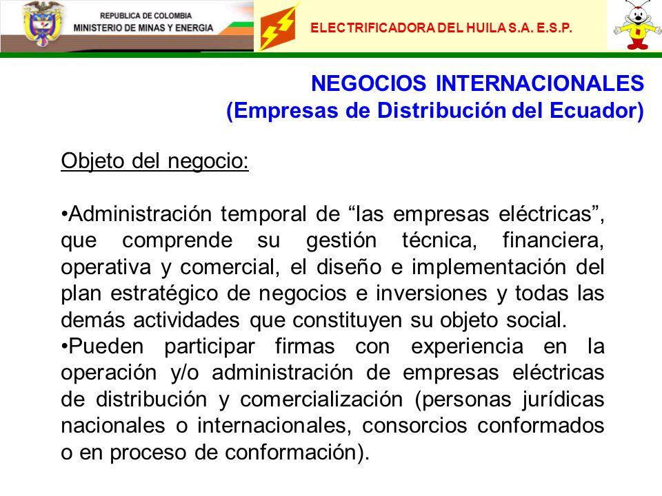 ELECTRIFICADORA DEL HUILA S.A. E.S.P. NEGOCIOS INTERNACIONALES (Empresas de Distribución del Ecuador) Objeto del negocio: Administración temporal de l