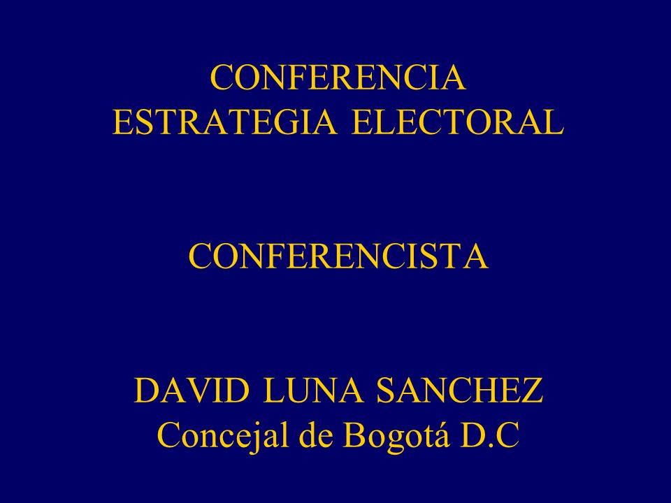 CONFERENCIA ESTRATEGIA ELECTORAL CONFERENCISTA DAVID LUNA SANCHEZ Concejal de Bogotá D.C