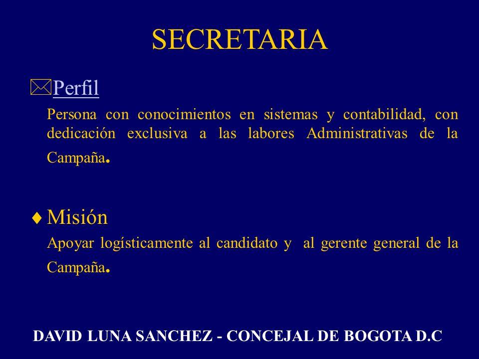 SECRETARIA EJECUTIVA *PerfilPerfil Ingeniera de sistemas o auxiliar contable, con dedicación exclusiva a las labores Administrativas de la Campaña. Mi