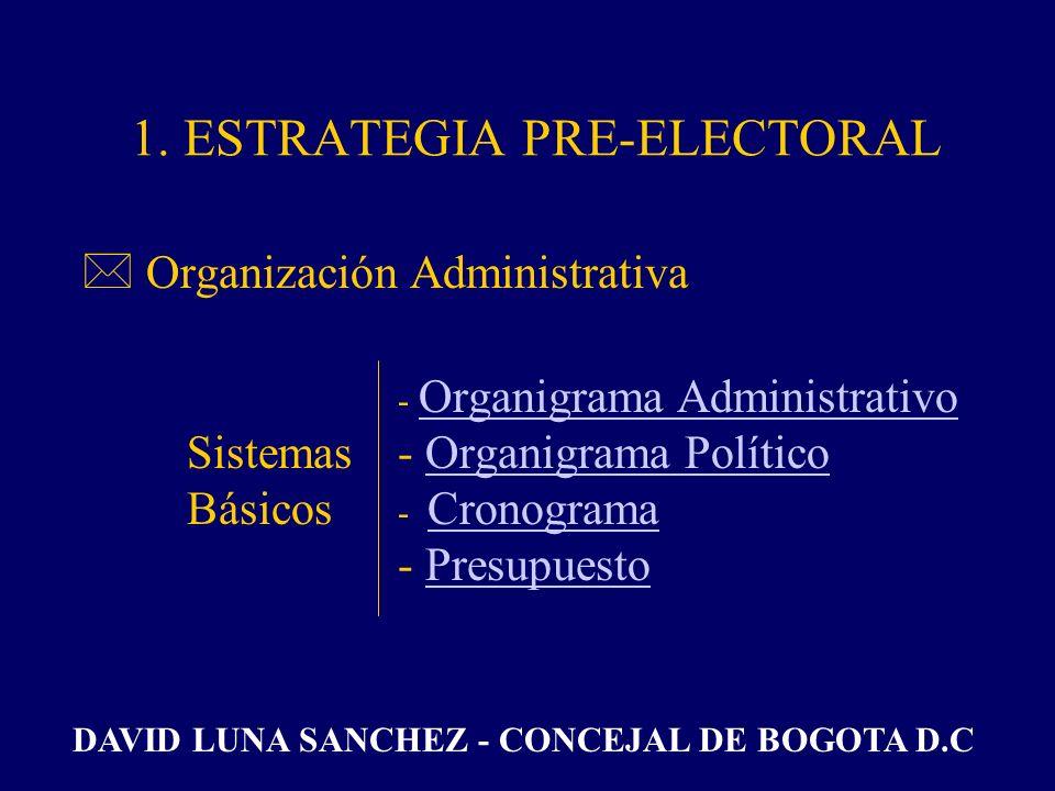 1. ESTRATEGIA PRE-ELECTORAL *Decisión PersonalDecisión Personal DAVID LUNA SANCHEZ - CONCEJAL DE BOGOTA D.C