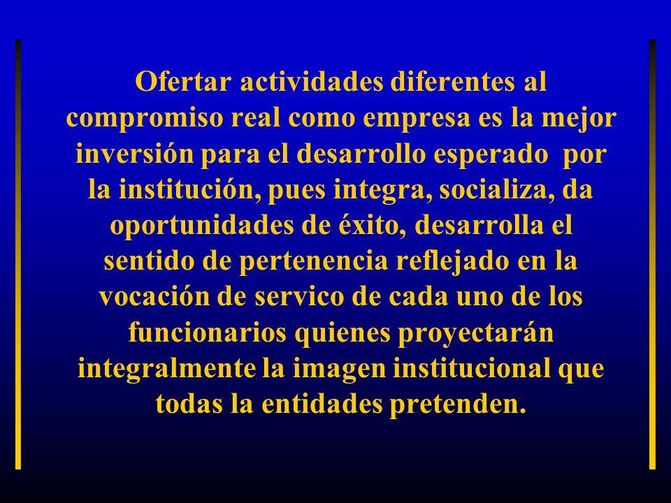 Ofertar actividades diferentes al compromiso real como empresa es la mejor inversión para el desarrollo esperado por la institución, pues integra, soc