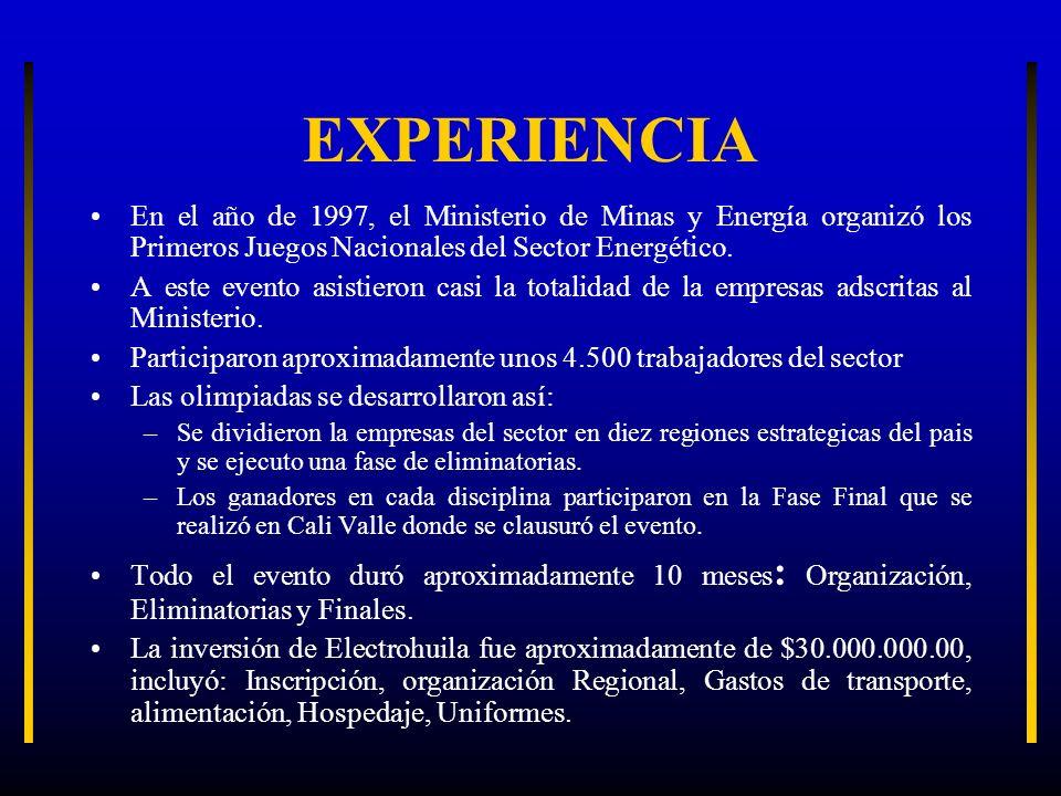 EXPERIENCIA En el año de 1997, el Ministerio de Minas y Energía organizó los Primeros Juegos Nacionales del Sector Energético. A este evento asistiero